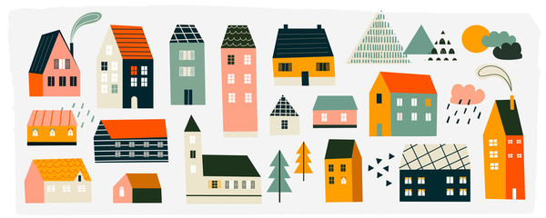 Various small tiny houses, trees and mountains. Paper cut style. Flat design. Hand drawn trendy illustration. Big colored vector set. All elements are isolated