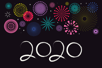 2020 Chinese New Year greeting card with fireworks, numbers. Isolated objects on black background. Vector illustration. Flat style design. Concept for holiday banner, decorative element.