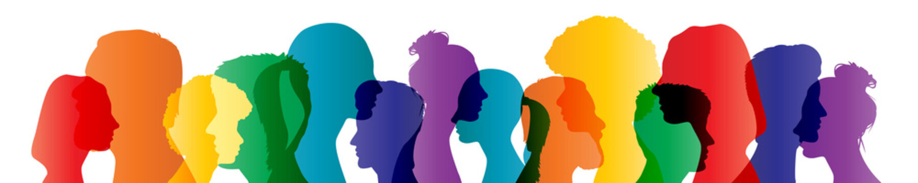 Colorful heads panorama banner community team