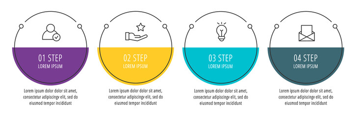 Modern line vector illustration. Infographic circles template with four elements, sectors, icons. Designed for business, presentations, web design, interface, workflow layout, diagrams with 4 steps