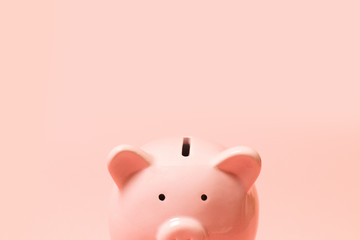 pink piggy bank isolated on white background, side view