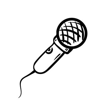 Handdrawn microphone doodle icon. Hand drawn black sketch. Sign cartoon symbol. Decoration element. White background. Isolated. Flat design. Vector illustration