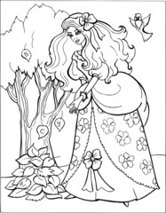 Coloring for girls. Princess. Puzzles. Labyrinth. 10