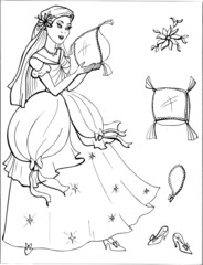 Coloring for girls. Princess. Puzzles. Labyrinth. 16