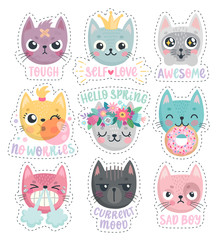 Wall Mural - Cute kittens. Characters with different emotions - joy, anger, happines and others. Vector illustration. -