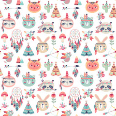 Wall Mural - Seamless pattern with Cute Woodland boho tribal pattern, rabbit, owl, sloth, panda,bear. American indian set of