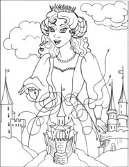 Coloring for girls. Princess. Puzzles. Labyrinth. 24