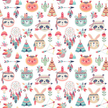 Seamless pattern with Cute Woodland boho tribal pattern, rabbit, owl, sloth, panda,bear. American indian set of