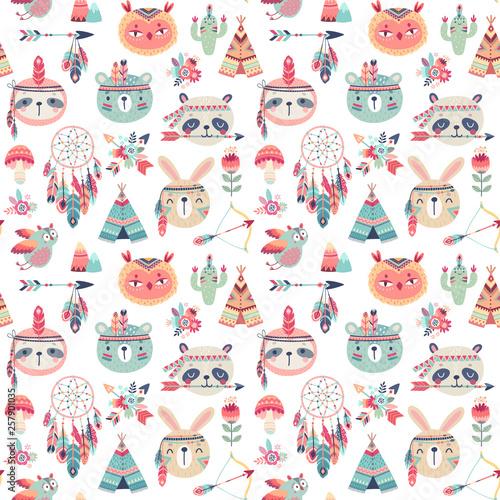Wall mural Seamless pattern with Cute Woodland boho tribal pattern, rabbit, owl, sloth, panda,bear. American indian set of