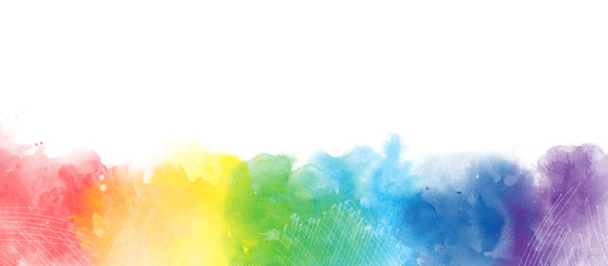 Rainbow watercolor artistic  border background isolated on white