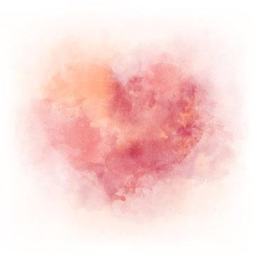 Gentle pink watercolor heart - romantic ald love symbol