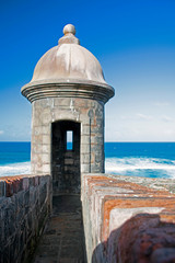 Recess Fitting Caribbean Sentry box in the 16th century fortress of San Cristobal in San Juan, Pueto Rico
