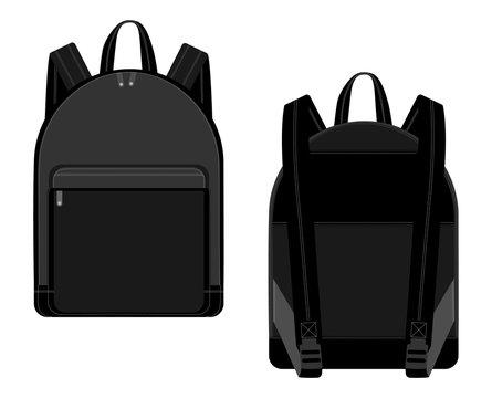 Black backpack vector illustration technical drawing. Backpacks for schoolchildren