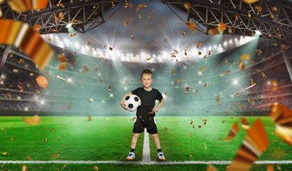 soccer game starts - Soccer ball in stadium