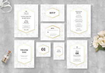 Wedding Invitation Suite with Marble Elements and Gold Accents