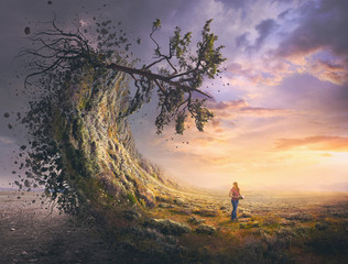 Surreal landscape and woman