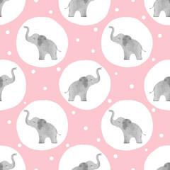 Motif d& 39 éléphants mignons à l& 39 aquarelle. Fond pointillé sans soudure de vecteur pour les enfants.