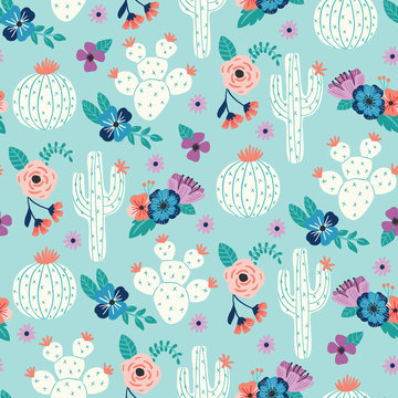 Vector seamless pattern with hand drawn cactus and floral bouquets on a blue background