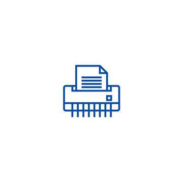 Paper shredder,office printer line concept icon. Paper shredder,office printer flat  vector website sign, outline symbol, illustration.