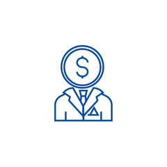 Financial consultant 68 line concept icon. Financial consultant 68 flat  vector website sign, outline symbol, illustration.