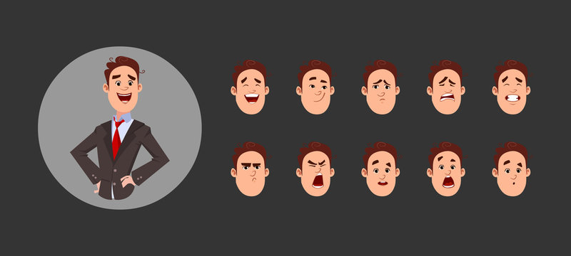 Young boy character with various facial emotions and lip sync. Character for custom animation.