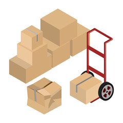 Moving Dolly And Boxes Vector