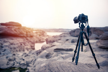Setup camera on tripod for  shooting view during sunset or sunrise