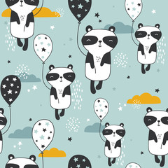 Door stickers Bestsellers Kids Pandas with air balloons, hand drawn backdrop. Colorful seamless pattern with animals, stars, clouds. Decorative cute wallpaper, good for printing. Overlapping background vector