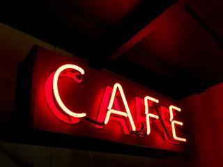 Illuminated neon cafe sign