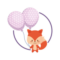 cute fox with balloons helium