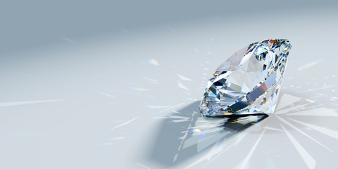 Close-up round brilliant cut diamond with caustics rays on light blue background, side view Wall mural