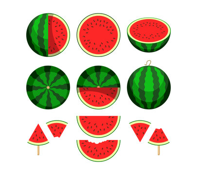 Watermelon. Whole fruit and fresh juicy watermelon slices. Vector illustration icon