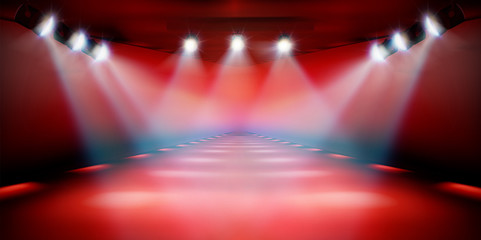 Stage podium during the show. Red background. Fashion runway. Vector illustration.