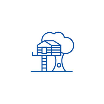 House on tree line concept icon. House on tree flat  vector website sign, outline symbol, illustration.