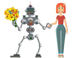 Date of the robot and man. The development of civilization.