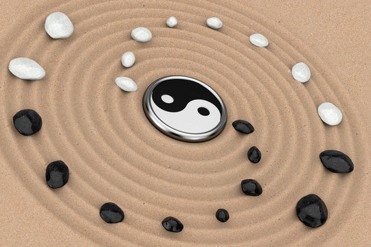 Ying Yang Sign with White and Black Stones over Zen Meditation Sand Garden. 3d Rendering