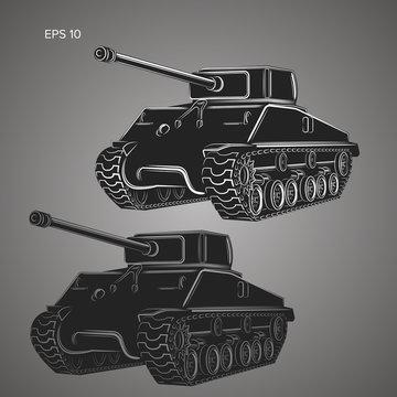 Famous american tank vector illustration. Vintage var machine.