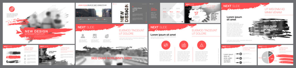 Grey and white design elements in grudge style presentation