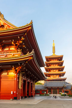 Exterior of Sensoji Temple and Five Storied Pagoda in Asakusa, Tokyo