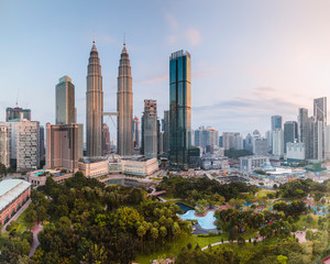 View of modern Kuala Lumpur cityscape against clear sky
