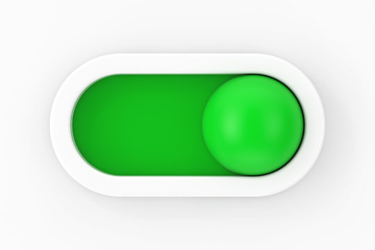 Modern Motion On Off Ball Slider Button Toggle Switch. 3d Rendering