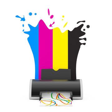 CMYK Colors behind Digital Inkjet Printer. 3d Rendering