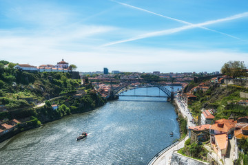 Aerial view of the Douro River with the cruise vessel. Porto, Portugal.
