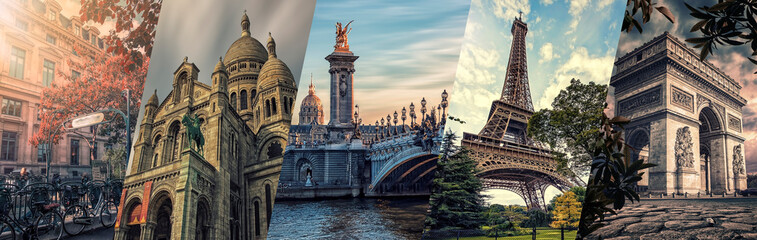 Poster Eiffel Tower Paris famous landmarks collage