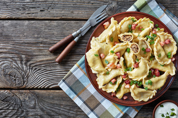 pierogies or dumplings with ground liver and meat