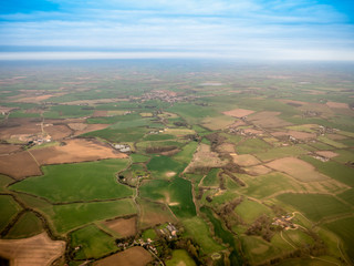 Mid Air view of English Countryside