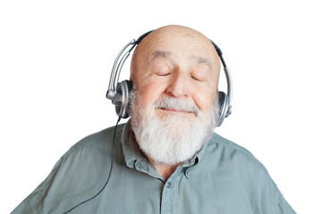 old man with headphones listening to music