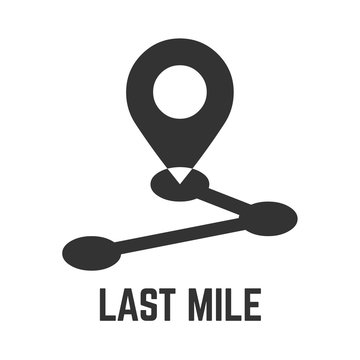 Last mile delivery icon with local geo tag and route point glyph sign.
