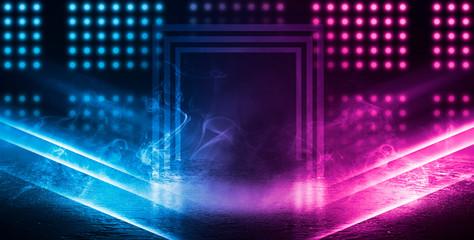 Background of empty dark scene, room with neon lights. Concrete floor, neon blue and pink light, smoke