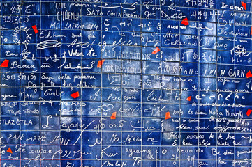 """I love you wall of Paris (Le mur des je t'aime) with 311 """"I love you""""  in 250 languages"""